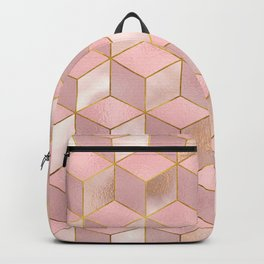 PINK CHAMPAGNE GRADIENT CUBE PATTERN (Gold Lined) Backpack