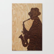 White jazz mood marquetry picture Canvas Print