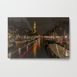 Amsterdam Canal with Boat and Bike Trails  Metal Print