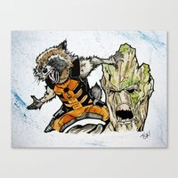 rocket raccoon Canvas Prints featuring Rocket Raccoon and Groot by artbyteesa