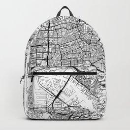 Amsterdam Map White Backpack