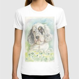 ENGLISH SETTER PUPPY Cute dog portrait on the dandelions meadow T-shirt