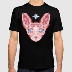 Sphynx Cat - Rose Quartz and Serenity version Black MEDIUM Mens Fitted Tee