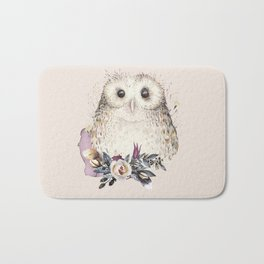 Boho Illustration- Be Wise Little Owl Bath Mat