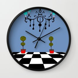 A Chandler with Checkered Tile and Topiaries Wall Clock