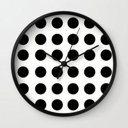 Polkadot - White & Black Wall Clock