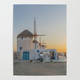 Mykonos Windmills by Pupina Poster