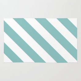 Chalky Blue Diagonal Stripes Rug