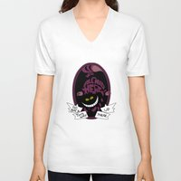 cheshire cat V-neck T-shirts featuring Cheshire by Nados