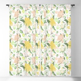 Peonies Abound Pattern in Yellow and Pastel Coral Blackout Curtain
