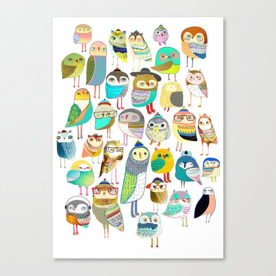 Owls. owl illustration, owl art, owl decor, pattern, art, design, animal, nature, kids, children, Canvas Print