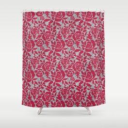 Red grey lace lace Shower Curtain
