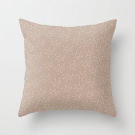 Caffeine pattern-brown Throw Pillow
