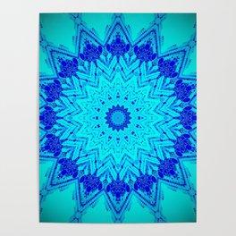 Bright blue turquoise Mandala Design Poster