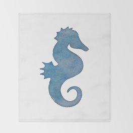 Watercolor Seahorse by Lo Lah Studio Throw Blanket