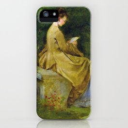 Lady Reading On A Bench - Digital Remastered Edition iPhone Case