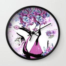 BEAUTIFUL GIRL WITH FLOWERS Wall Clock