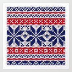Winter knitted pattern 7 Art Print