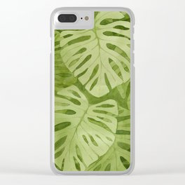 Watercolor Monstera Leaves Clear iPhone Case