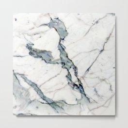 Ivory Pastel Marble With Soft Teal Aqua Streaks Metal Print