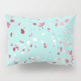 Turquoise and Rosegold Glitter Terrazzo Pillow Sham