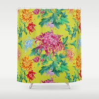oriental Shower Curtains featuring Oriental Flowers by Chicca Besso