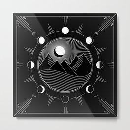 Moon Phases & Mountains Metal Print