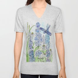 Watercolor Wildflower Garden Dragonfly Blue Flowers Daisies Unisex V-Neck
