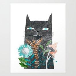 grey cat with botanical illustration Art Print