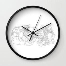 Zeus Vs Poseidon Black and White Drawing Wall Clock