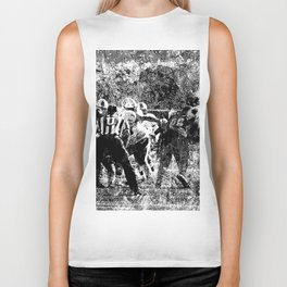 College Football Art, Black And White Biker Tank