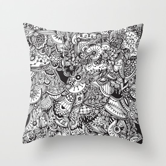 Detailed rectangle, black and white  Throw Pillow