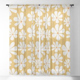 Floral Daisy Pattern - Golden Yellow Sheer Curtain