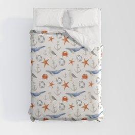 Watercolor nautical pattern Duvet Cover