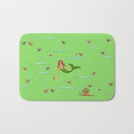 Fashionable mermaid - green Bath Mat