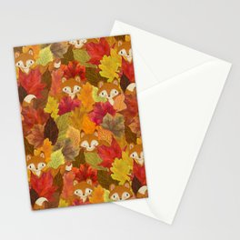 Foxes Hiding in the Fall Leaves - Autumn Fox Stationery Cards