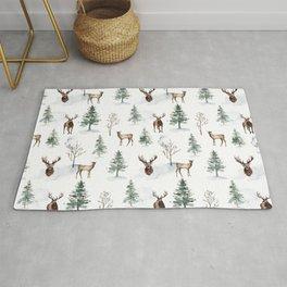 Deer and Pine Trees Rug