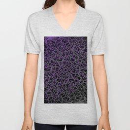 Purple, Black, and Grey Web Crackle Print Unisex V-Neck