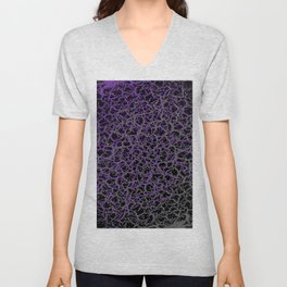 Purple, Black, and Grey Web Crackle Print Unisex V-Neck