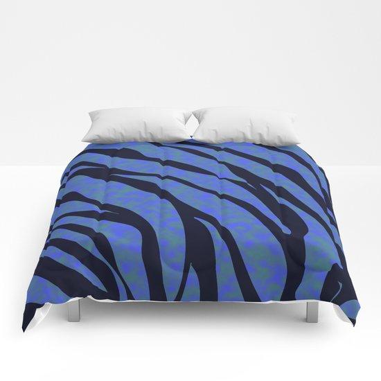 Blue ocean zebra  Comforters