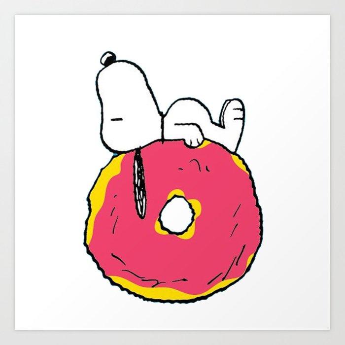 snoopy love donuts Art Print