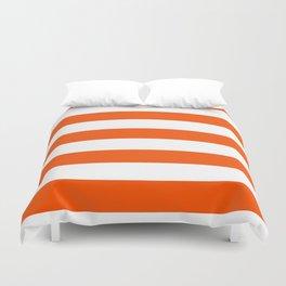 Horizontal Stripes - White and Dark Orange Duvet Cover