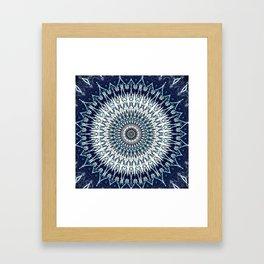 Indigo Navy White Mandala Design Framed Art Print