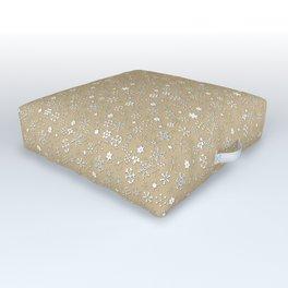 Gold & White Christmas Snowflakes Outdoor Floor Cushion