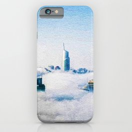Dubai skyline topped in morning clouds landscape iPhone Case