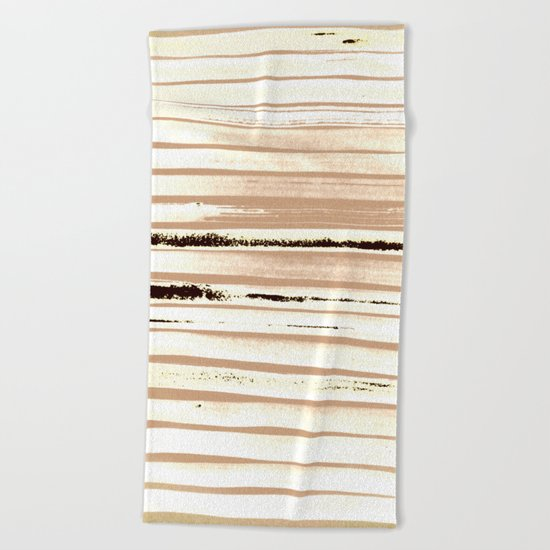 Brown Earth Lines Beach Towel