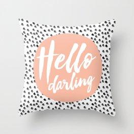 Hello Darling Spots - peach orange, black and white Throw Pillow