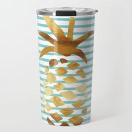 Pineapple & Stripes - Mint/White/Gold Travel Mug