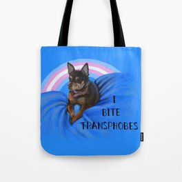 I Bite Transphobes-blue Tote Bag
