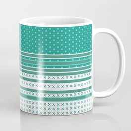 Teal Poka Dot Multi Pattern Design Coffee Mug